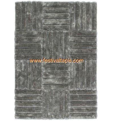 Tapis Shaggy effet 3D coloris gris motif carré MODELE