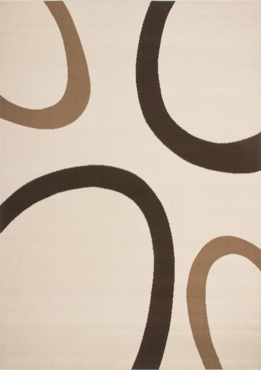 Tapis contemporain de couleur beige, marron convers