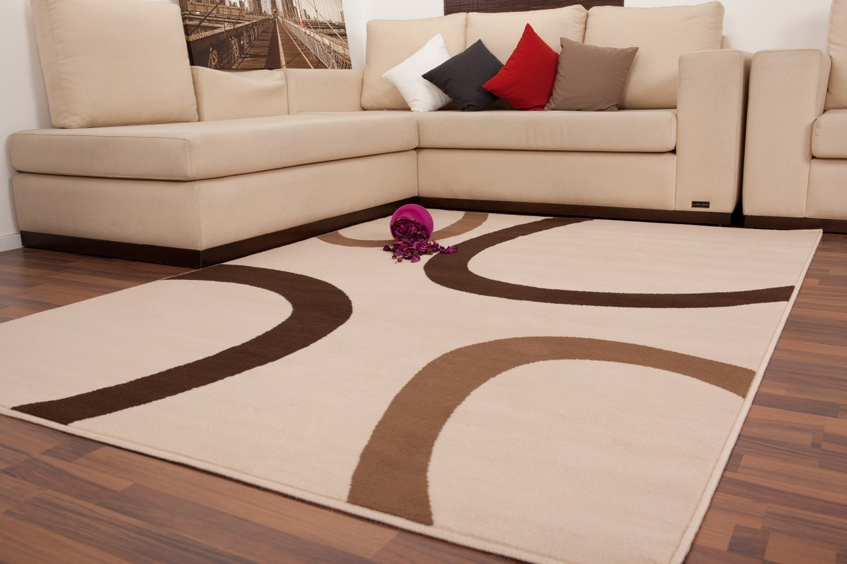 Tapis Contemporain De Couleur Beige Marron Convers
