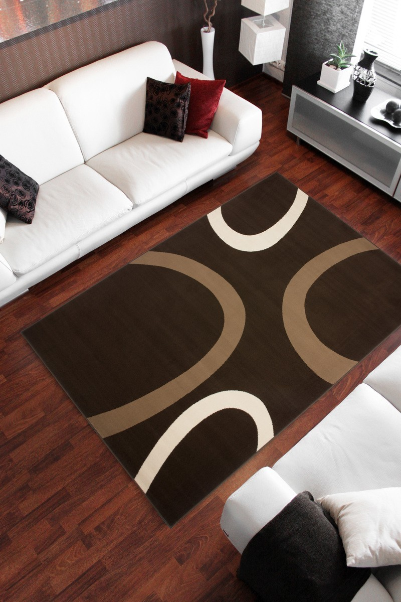 tapis contemporain de couleur marron convers. Black Bedroom Furniture Sets. Home Design Ideas