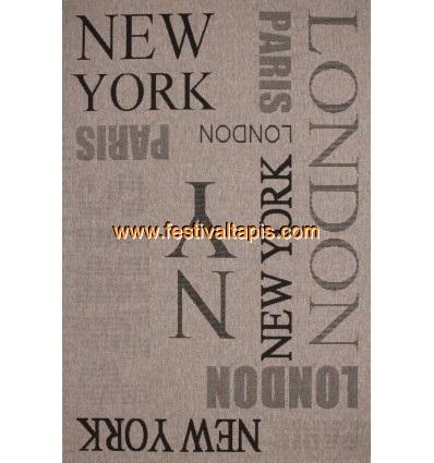 Tapis à effet sisal avec imprimé métropole coloris marron tapis contemporain, tapis contemporain pas cher, tapis contemporains,
