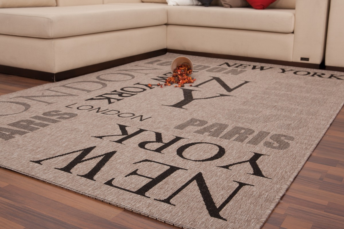 tapis effet sisal avec imprim m tropole coloris marron. Black Bedroom Furniture Sets. Home Design Ideas