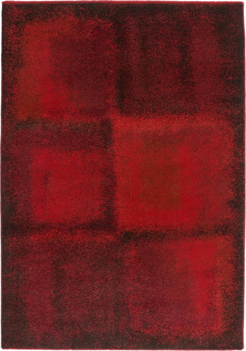 Tapis salon rouge design vintage synthétique tissé doux davina 10