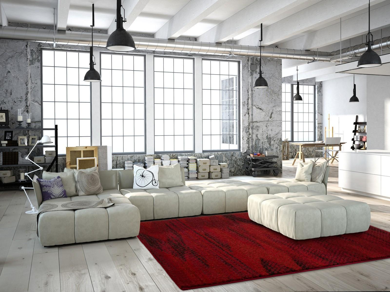 Tapis salon rouge design vintage synthétique tissé doux davina 11