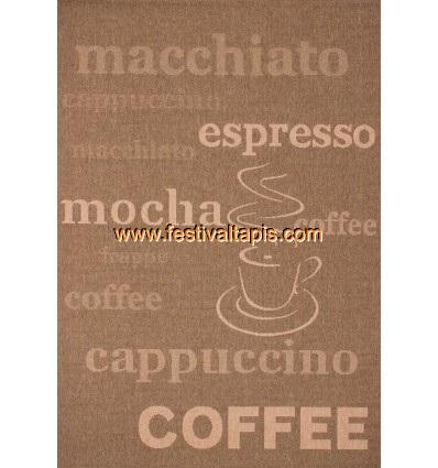 "Tapis plat effet sisal motif ""café"" coloris caramel tapis contemporain, tapis contemporain pas cher, tapis contemporains, tapis"