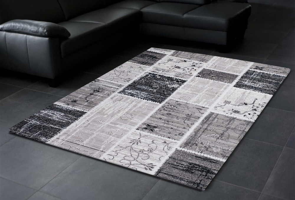 tapis gris noir design contemporain firenze 3. Black Bedroom Furniture Sets. Home Design Ideas