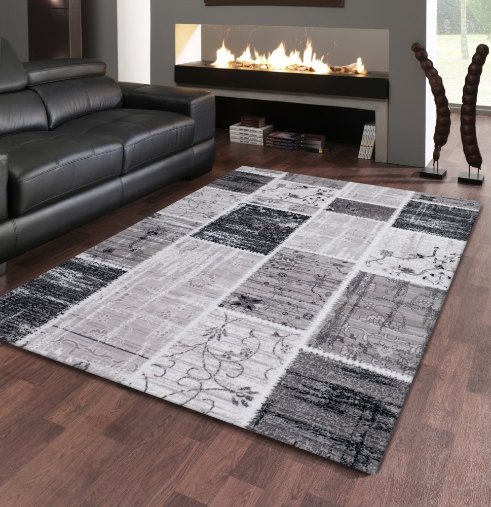 Tapis gris noir design contemporain firenze 3 for Tapis salon but