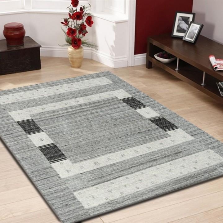 tapis 100 laine fait la main naturel coloris gris mikado. Black Bedroom Furniture Sets. Home Design Ideas