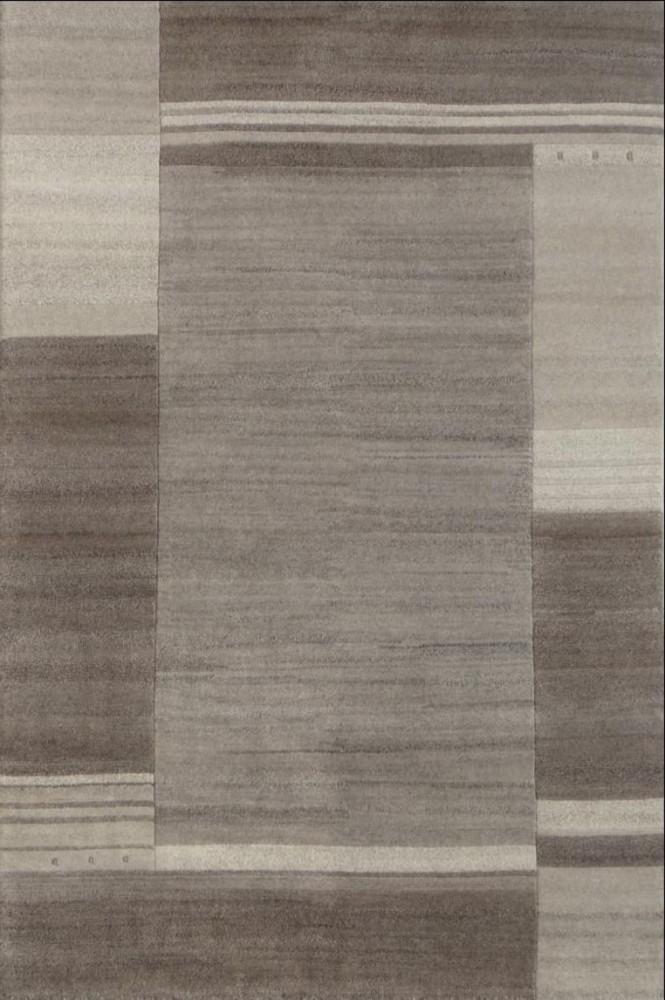 Tapis salon design tuftée main 100% laine naturel gris SANTANA-6