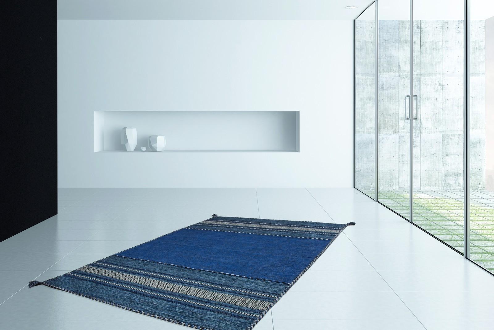 Tapis 100% coton lavable en machine naturel antique bleu graphique 6