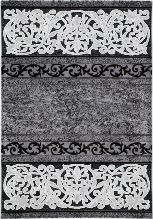 Tapis Baroque Oriental Effet 3d Motif Pierre Noir Gris