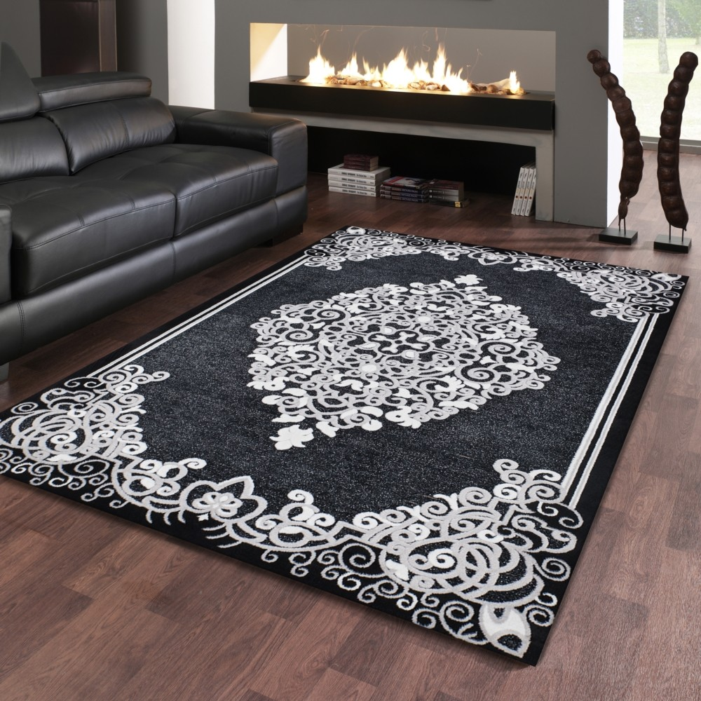 tapis baroque oriental effet 3d motif noir gris jericho 5. Black Bedroom Furniture Sets. Home Design Ideas