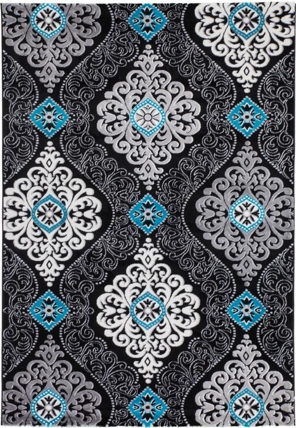 Tapis Noir Blue En Acrylique Et Polypropylen Desin Salon Gravel 4 Pas Cher