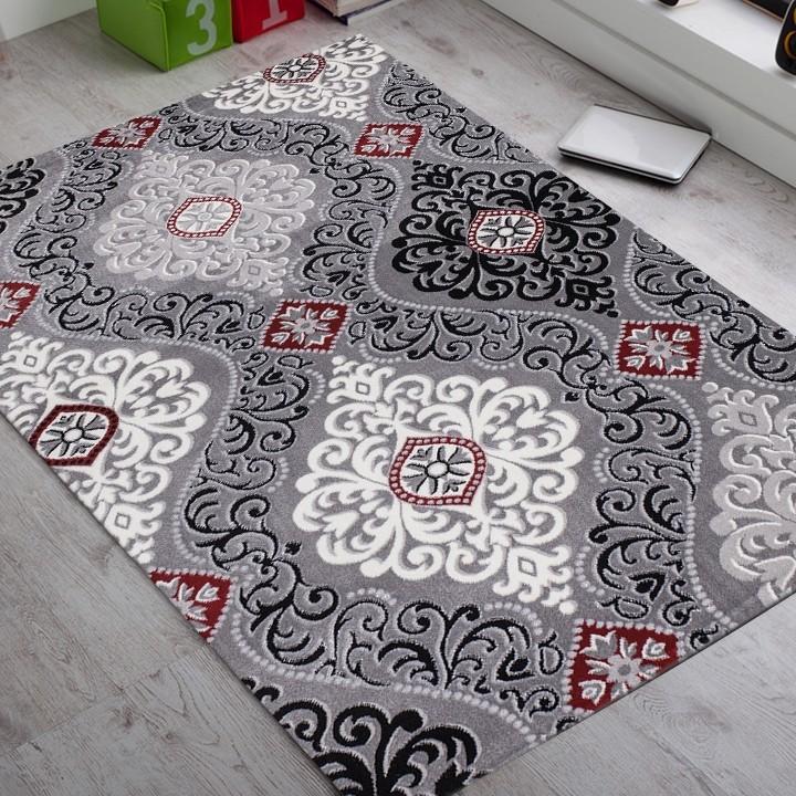 tapis noir rouge en acrylique et polypropylen desin salon gravel 5 pas cher. Black Bedroom Furniture Sets. Home Design Ideas