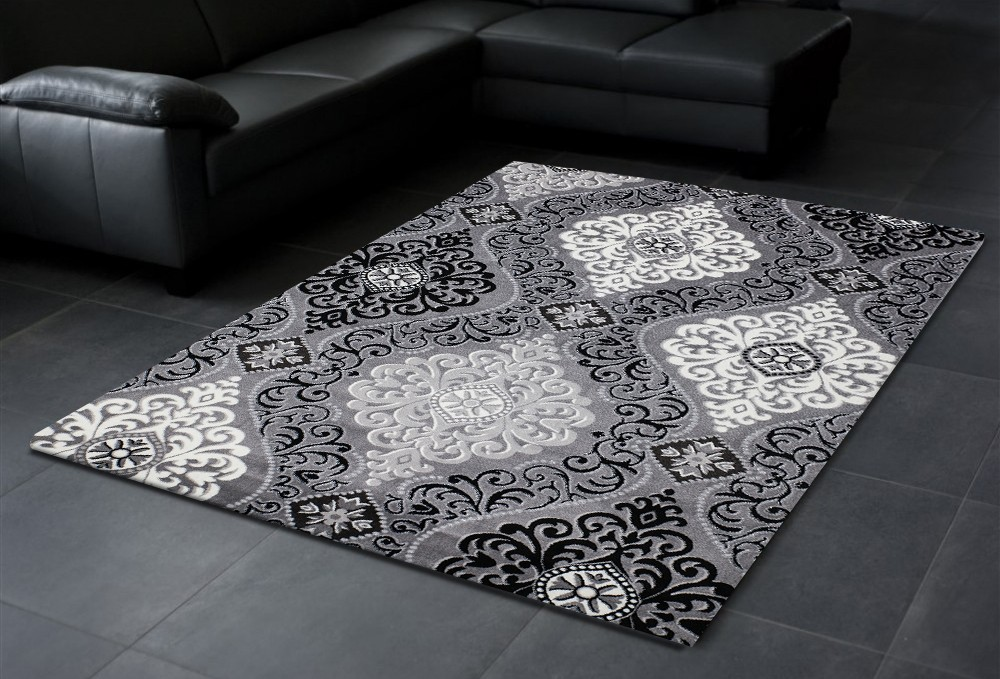 tapis gris noir en acrylique et polypropylen design salon. Black Bedroom Furniture Sets. Home Design Ideas
