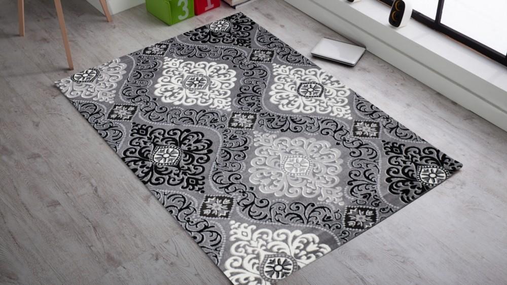 Tapis gris/noir en acrylique et polypropylen design salon GRAVEL-6 ...