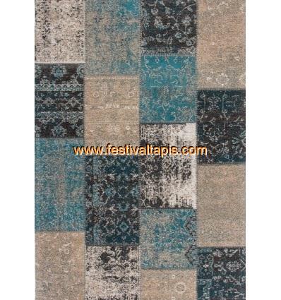 tapis design tendance tapis patchwork pas cher gris bleu tivoli - Tapis Patchwork
