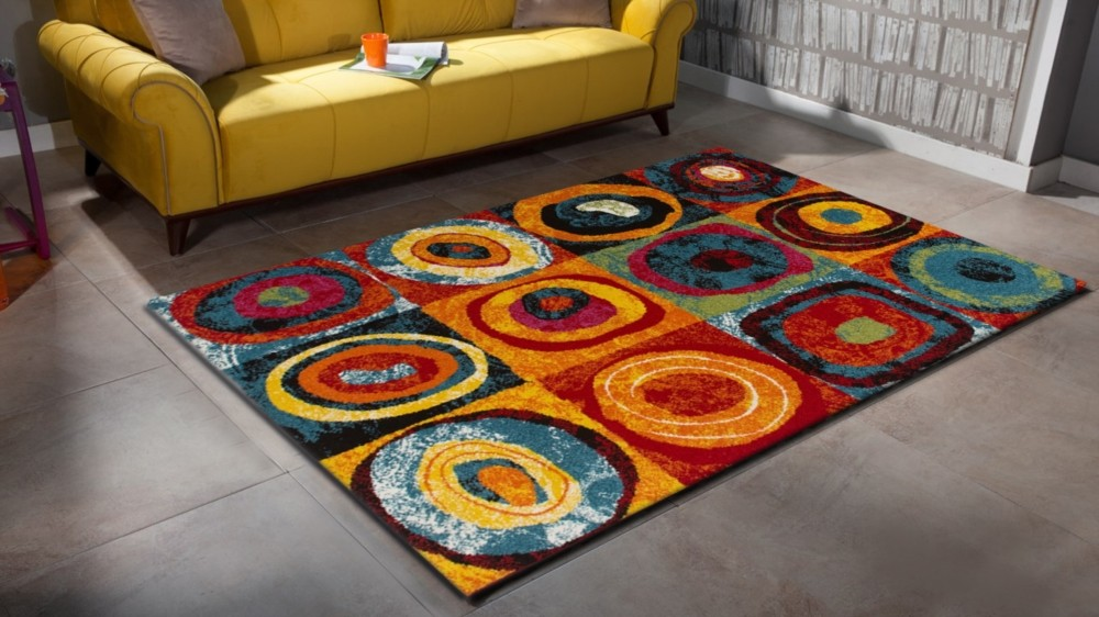 Tapis design pour salon multicolore sweet pas cher for Tapis design pour salon