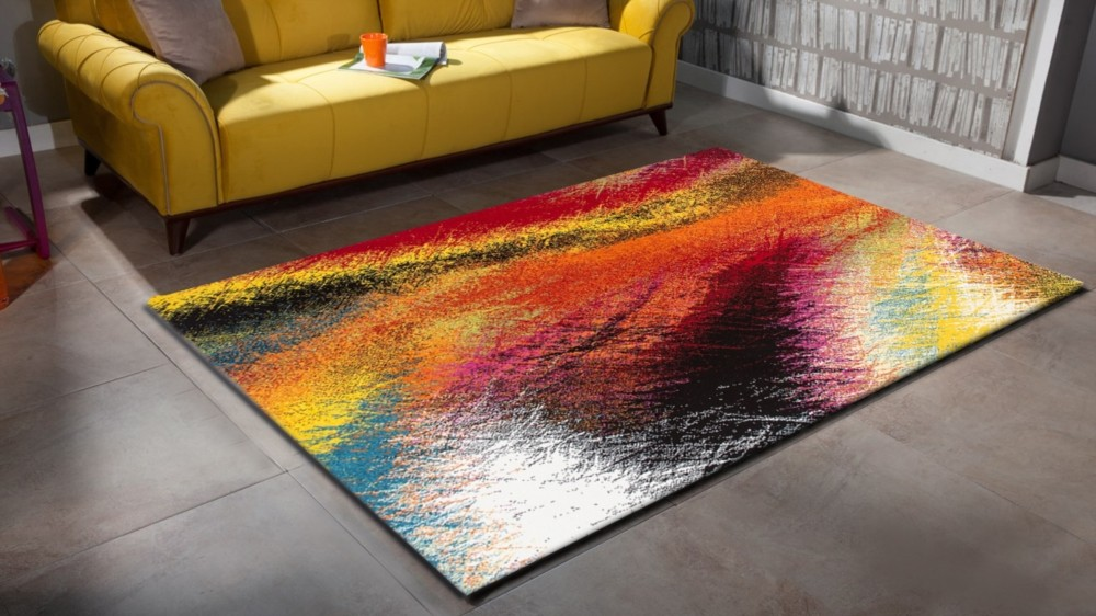 Tapis design pour salon moderne multicolore south pas cher for Stand pas cher pour salon