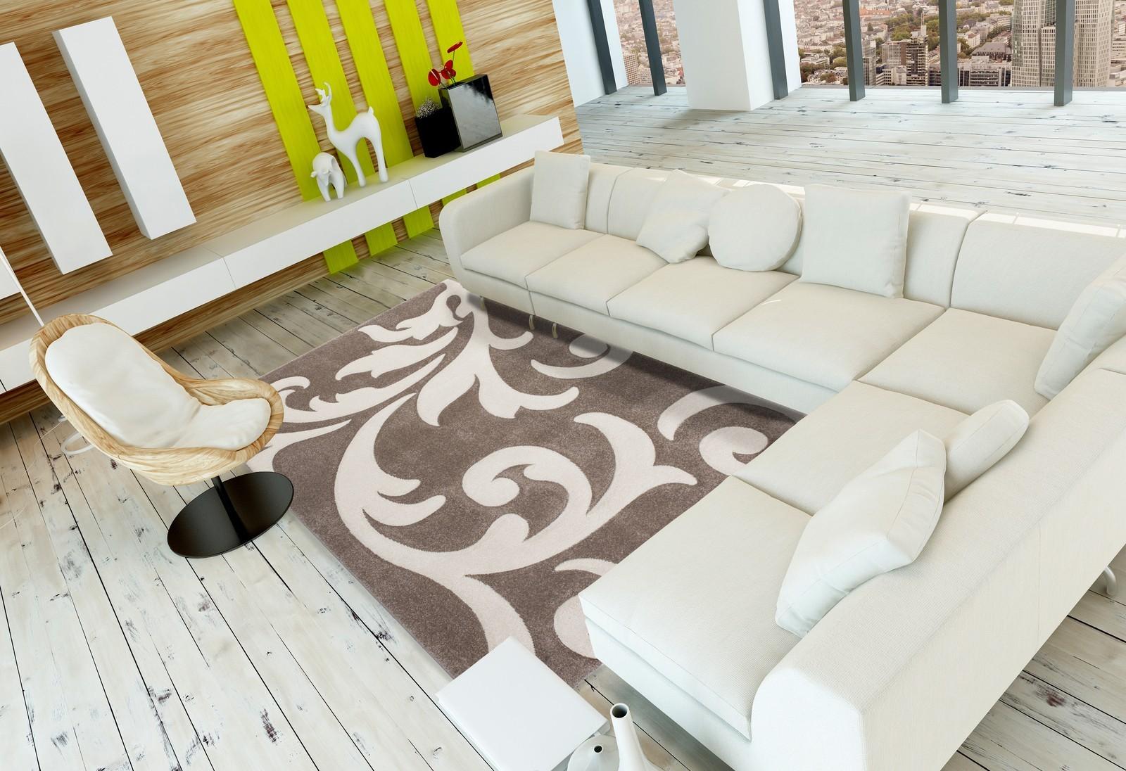 Tapis effet 3D look tendance et design beige taupe ELEGANT