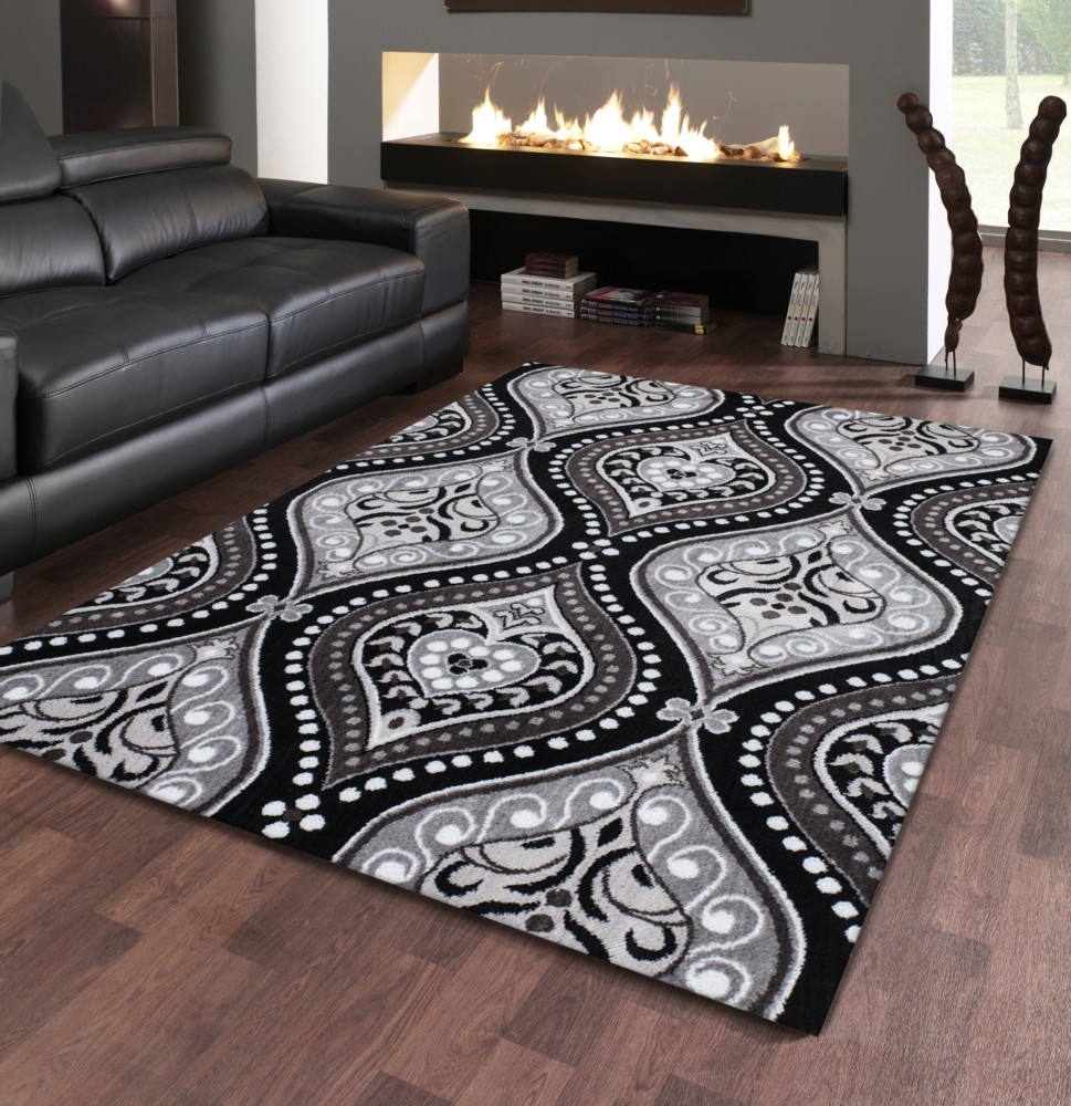 tapis contemporain noir et gris en polypropyl ne stanislas pas cher. Black Bedroom Furniture Sets. Home Design Ideas