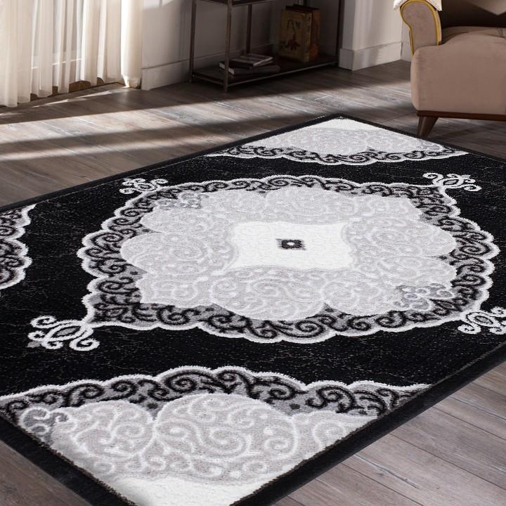 tapis contemporain noir et gris en polypropyl ne stanislas 3 pas cher. Black Bedroom Furniture Sets. Home Design Ideas