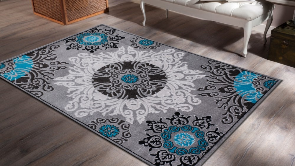 tapis contemporain bleu. Black Bedroom Furniture Sets. Home Design Ideas