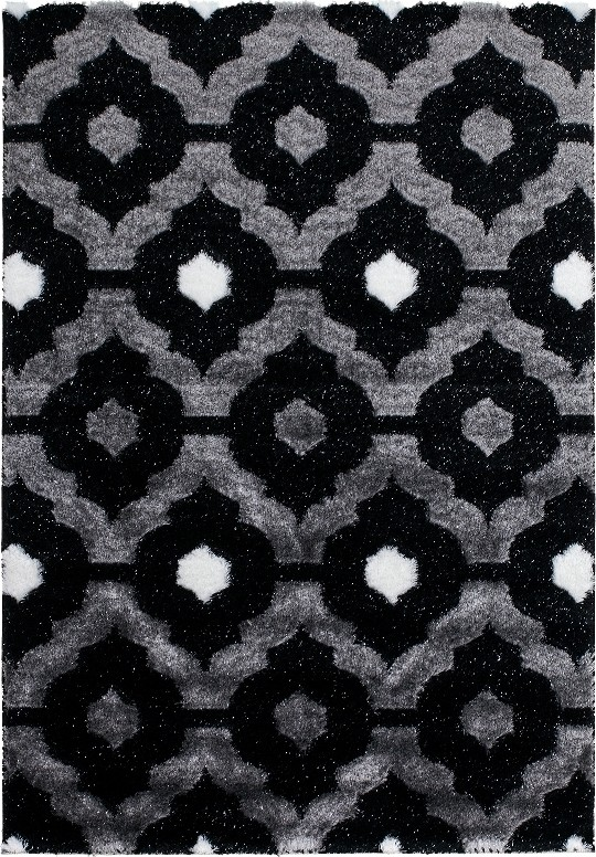 Tapis Shaggy Moderne Pars M De Lurex Coloris Gris Noir Blanc Funky 3 Pas Cher