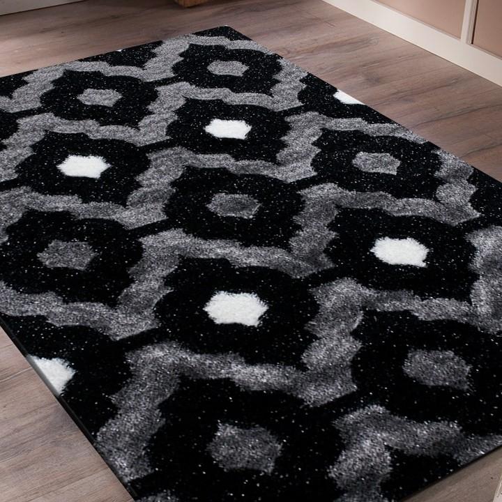 Tapis shaggy moderne pars m de lurex coloris gris noir blanc funky 3 pas cher - Tapis shaggy noir pas cher ...