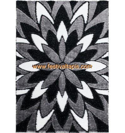 Tapis Shaggy Moderne Pars M De Lurex Coloris Gris Noir Blanc Funky 8 Pas Cher