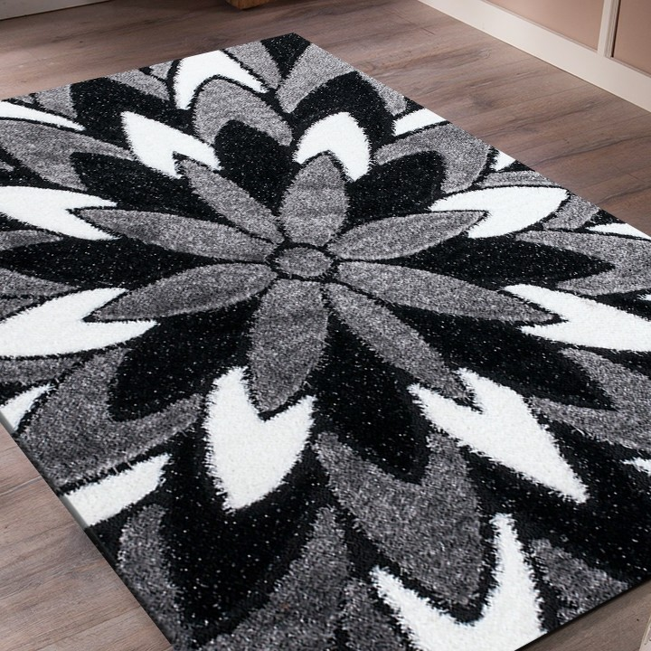 tapis shaggy moderne pars m de lurex coloris gris noir. Black Bedroom Furniture Sets. Home Design Ideas