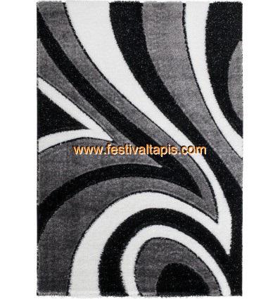 Tapis shaggy moderne pars m de lurex coloris gris noir blanc funky 10 pas cher - Tapis shaggy noir pas cher ...