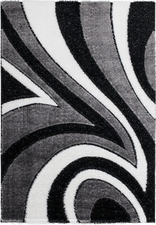Tapis Shaggy moderne parsémé de lurex coloris gris-noir-blanc ...