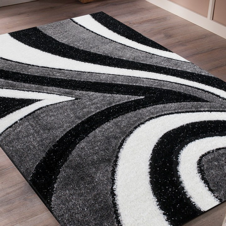 tapis shaggy moderne pars m de lurex coloris gris noir blanc funky 10 pas cher. Black Bedroom Furniture Sets. Home Design Ideas