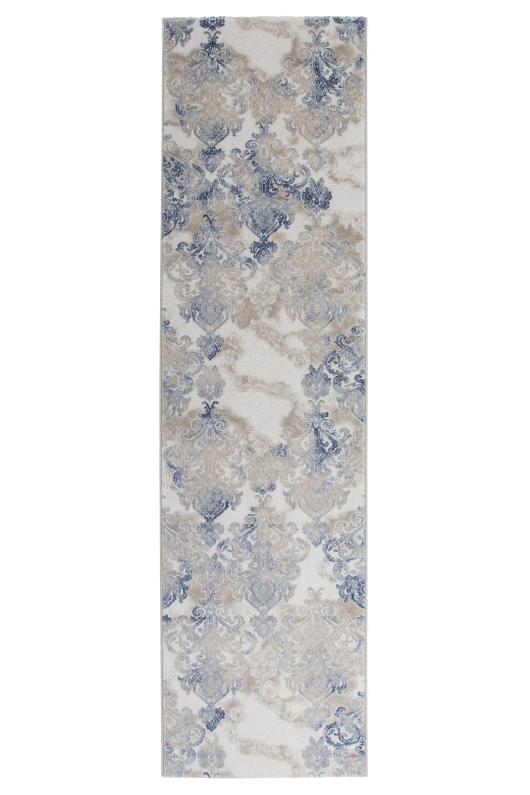 Tapis de salle manger salon design bleu avec effet 3d indila 2 pas cher - Tapis bleu pas cher ...