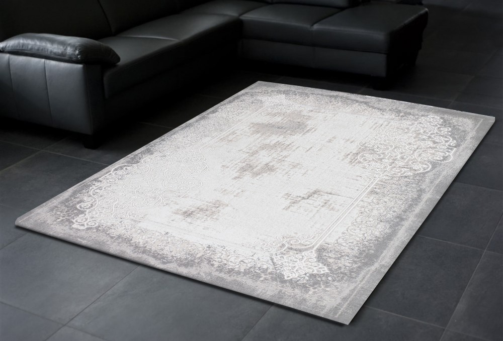tapis design vintage en acrylique soft gris silver unique. Black Bedroom Furniture Sets. Home Design Ideas