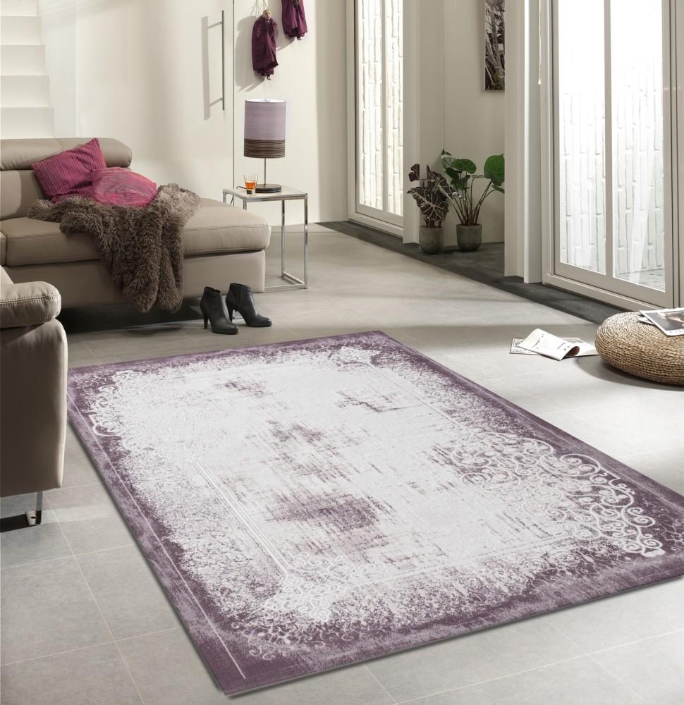 tapis design vintage en acrylique soft lila violette unique 2 pas cher. Black Bedroom Furniture Sets. Home Design Ideas