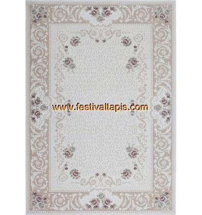 Tapis design vintage en acrylique soft cremé UNIQUE-5