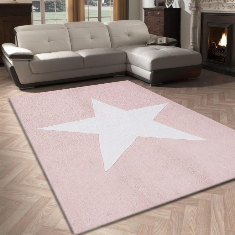 Tapis salon 120X170cm etoile chambre vintage en acrylique soft rose ...