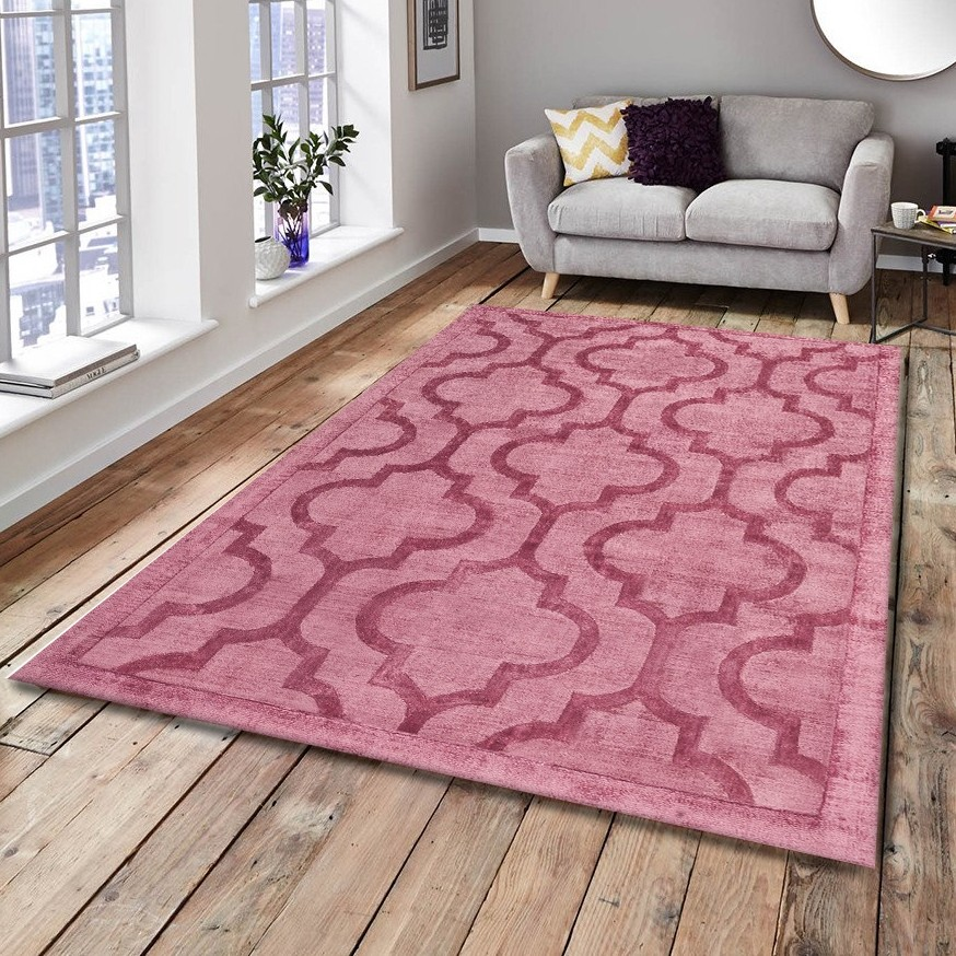 tapis effet vintage rose en viscose tiss main kruger pas cher. Black Bedroom Furniture Sets. Home Design Ideas
