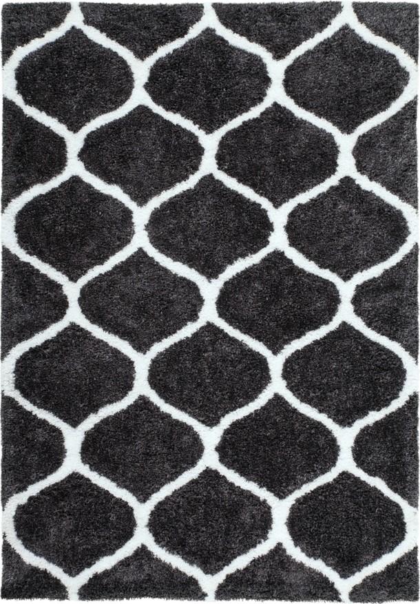 Tapis doux soft en polyester noir blanc waffle pas cher - Tapis shaggy noir pas cher ...