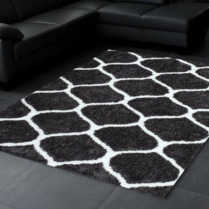 tapis doux soft en polyester noir blanc waffle pas cher. Black Bedroom Furniture Sets. Home Design Ideas