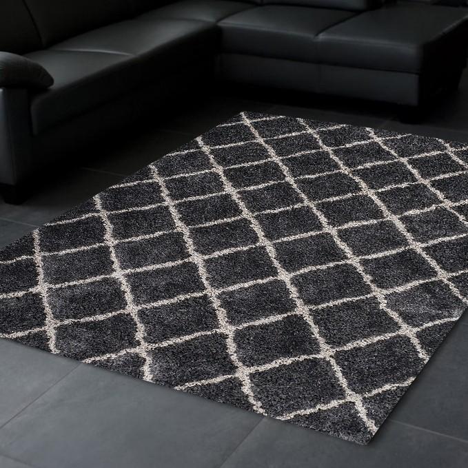 tapis doux soft en polyester noir gris waffle 2 pas cher. Black Bedroom Furniture Sets. Home Design Ideas