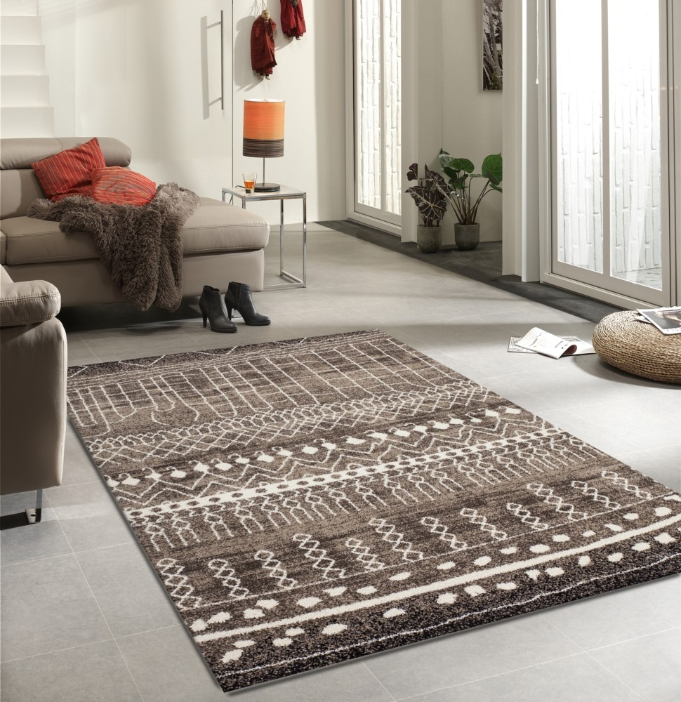 Tapis en polypropyl ne contemporain d 39 int rieur couleur for Tapis de salon gris et beige