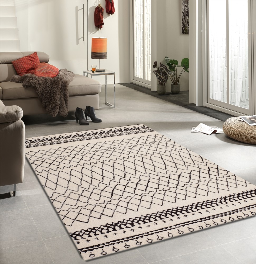 Tapis en polypropyl ne contemporain d 39 int rieur couleur crem wood 2 Beaux tapis contemporains