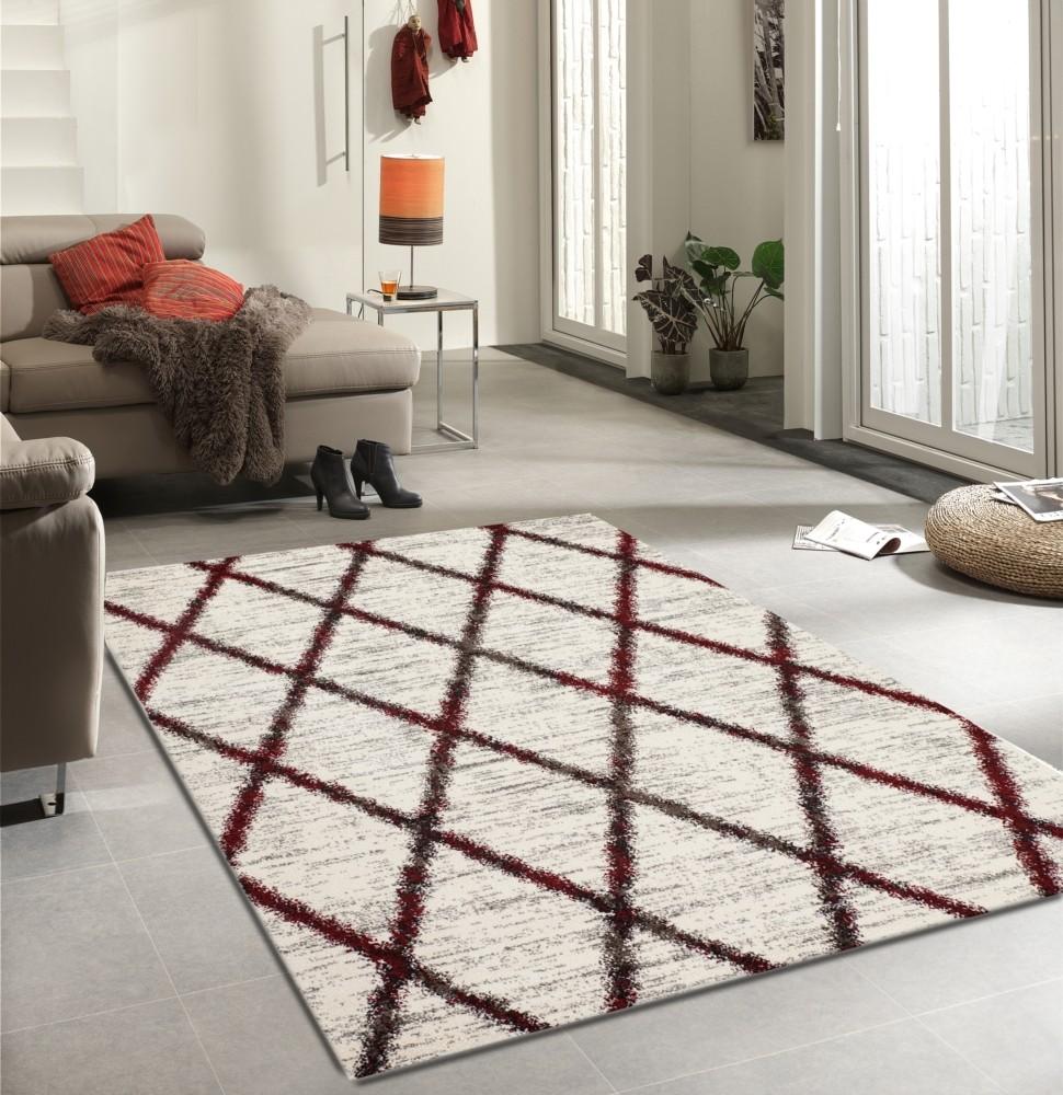tapis en polypropyl ne contemporain d 39 int rieur couleur rouge et crem wood. Black Bedroom Furniture Sets. Home Design Ideas