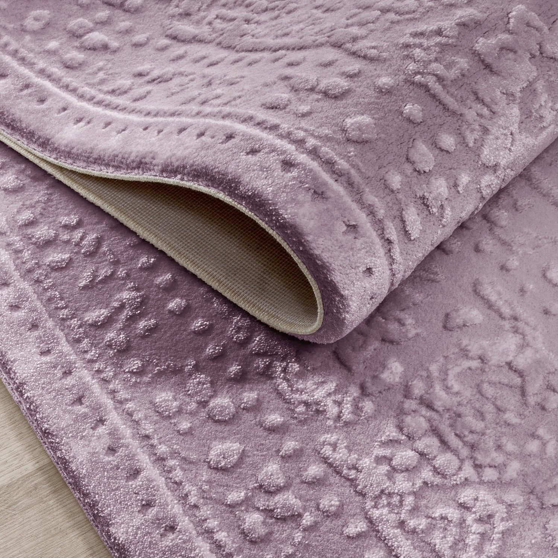 Tapis Rose Violette Style Baroque Acrylique Haut Qualite Naturel Brillant Sencha 7