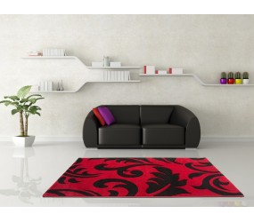 Tapis effet 3D design coloris roug et noir tapis pour salon, tapis salon design, tapis pour salon pas cher, tapis moderne salon, tapis de salon design, grand tapis salon, tapis salon moderne, tapis design