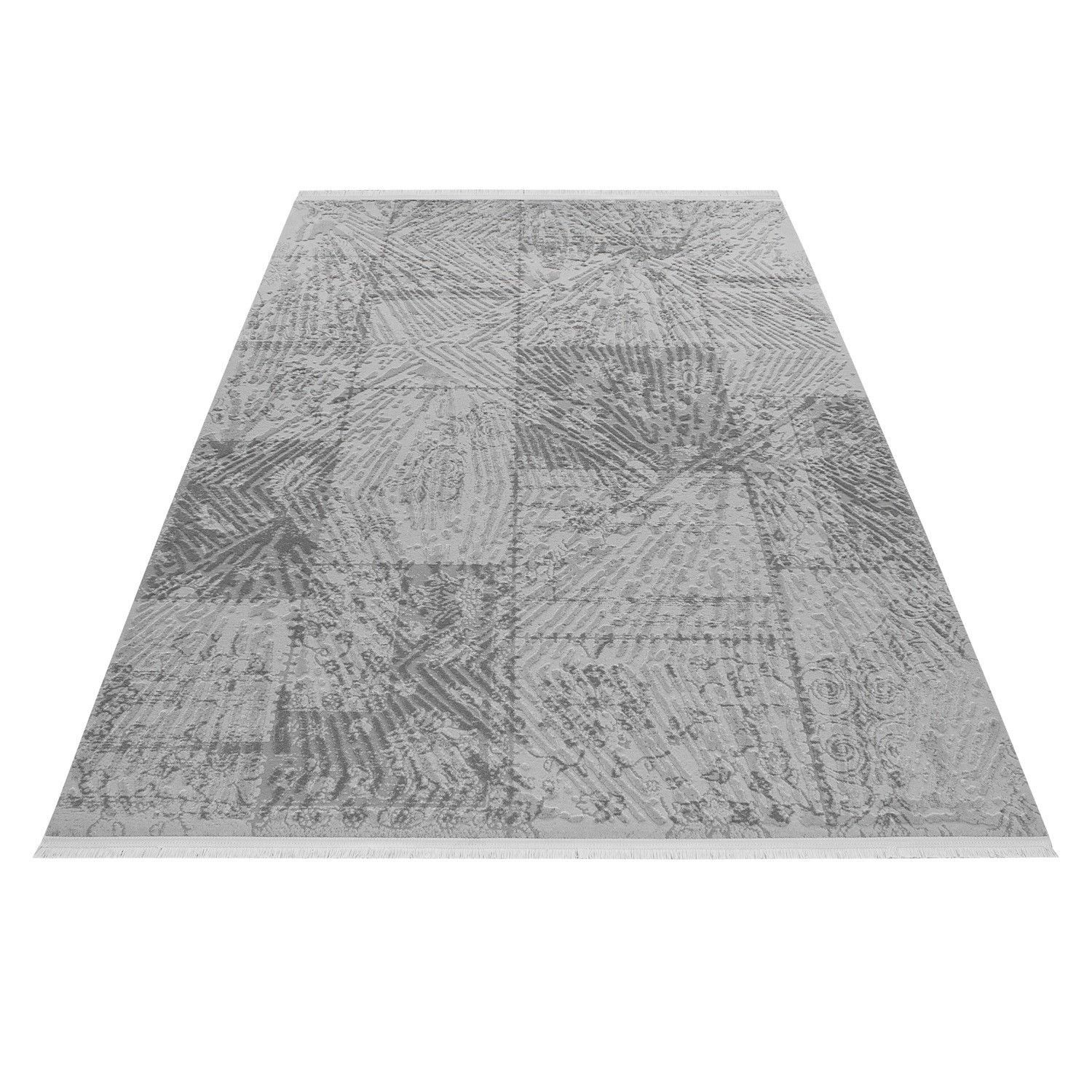 Tapis gris style baroque acrylique haut qualite naturel brillant sencha 13 Tapis synthetique exterieur