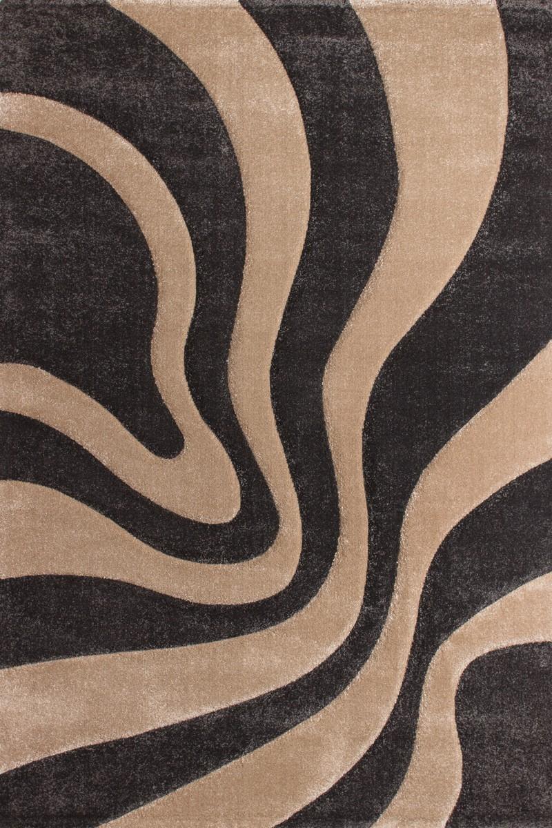 Tapis effet 3D look tendance et design rayé marron beige ELEGANT